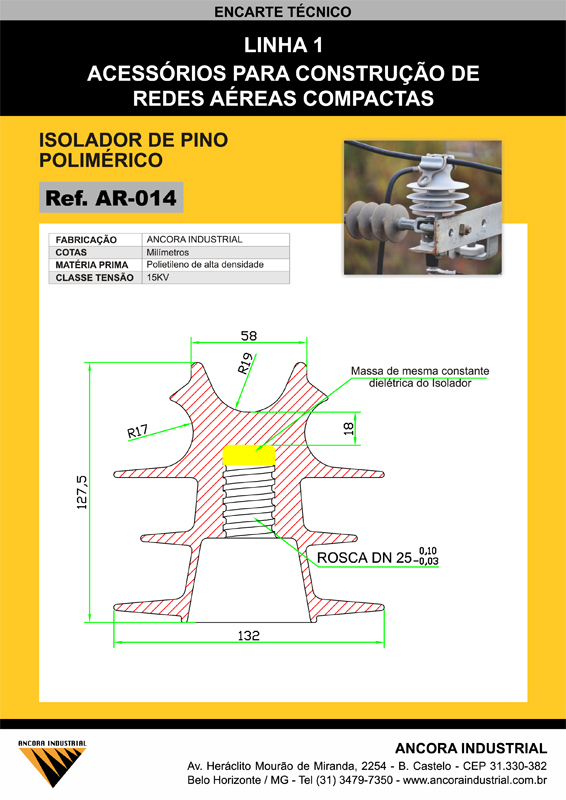 Isolador de pino polimérico
